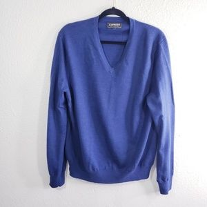 Express Blue Merino Wool V-Neck Sweater Size XL
